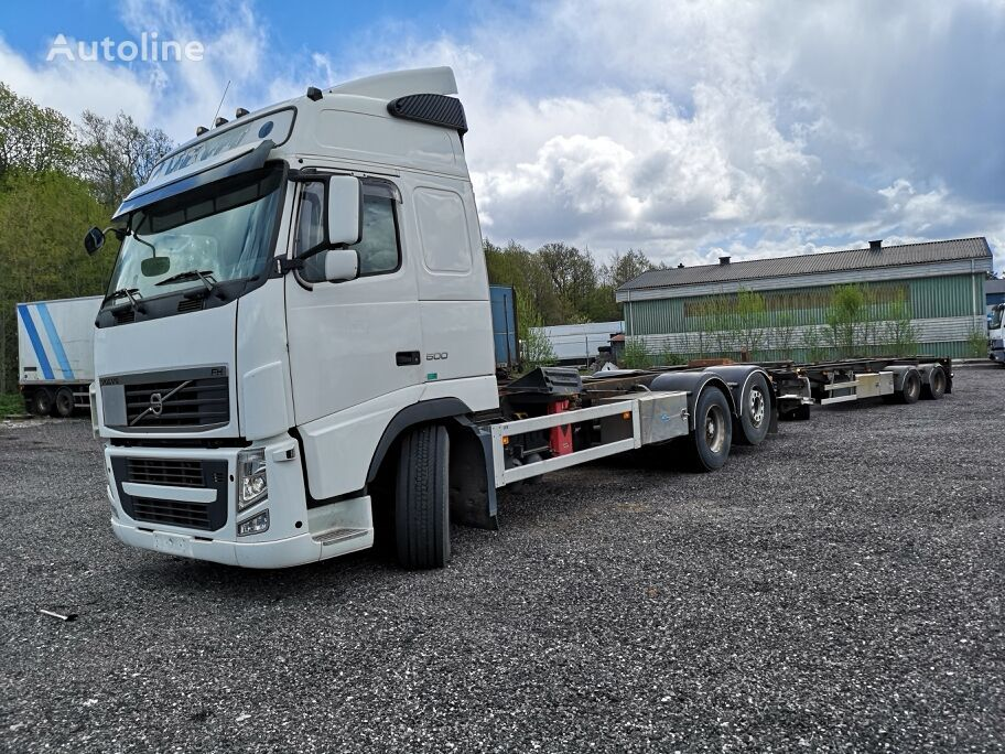 VOLVO FH500 container lastebil + tilhenger container chassis