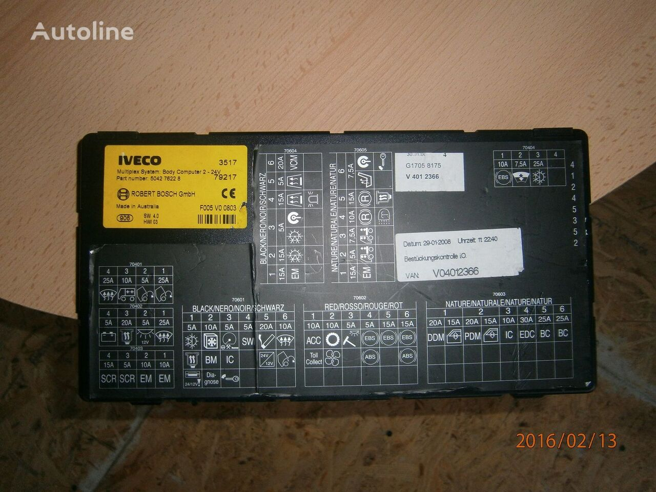 IVECO EURO5 Multiplex system body computer 504276228 styreenhet for IVECO Stralis trekkvogn